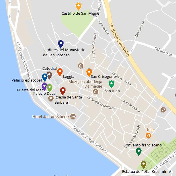 mapa sibenik