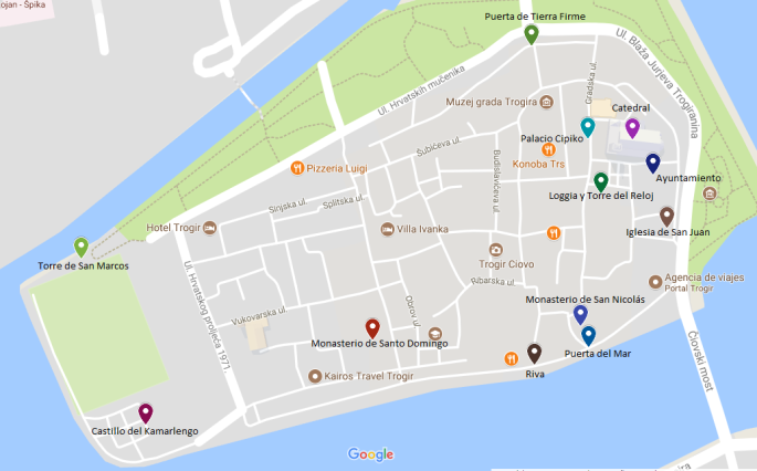 mapa trogir